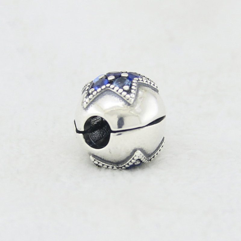 100% Pure 925 Sterling Silver Charm Bright Star Clip Beads Fit Original Pan Charm Bracelets For Women Silver Jewelry