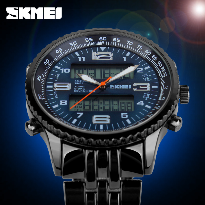 2018 New SKMEI Luxury Brand Men Military Watches Volledig Staal Heren - Herenhorloges - Foto 4