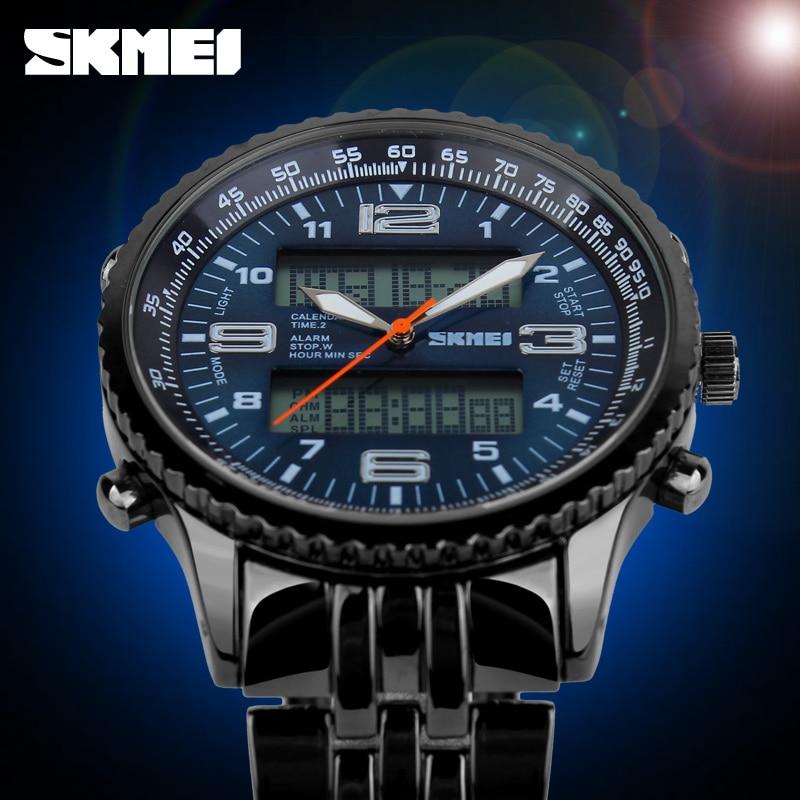 2018 Yeni SKMEI Lüks Marka Erkekler Askeri Saatler Tam Çelik - Erkek Saatleri - Fotoğraf 4