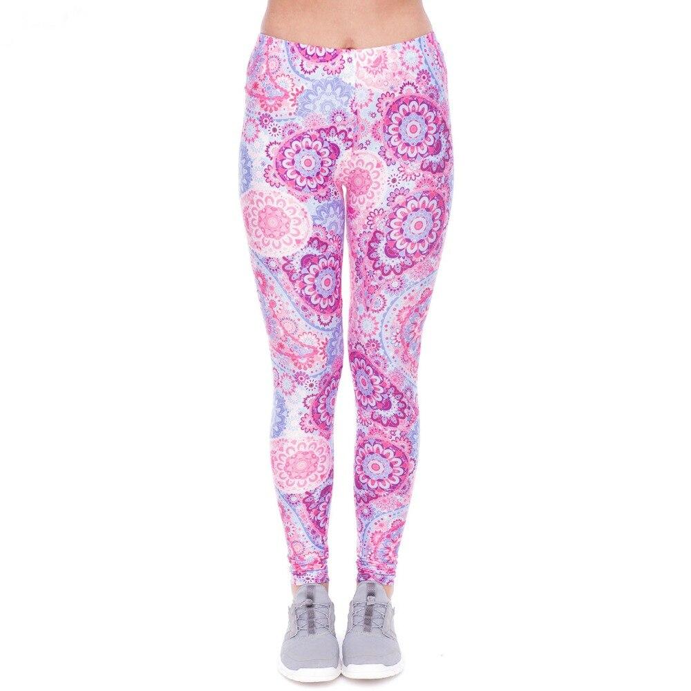 2018 Women Fashion Casual Fitness Pink Paisley Printed Leggings