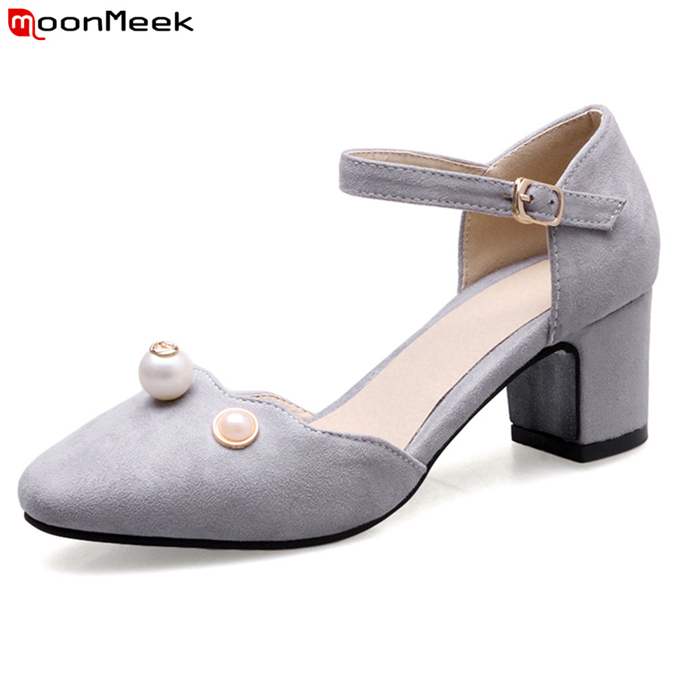 MoonMeek 2018 high heel ladies shoes with buckle square heels round toe flock pink grey black color pumps women shoes comfy women pointed toe square high heels office shoes woman flock ladies pumps plus size 34 40 black grey high quality