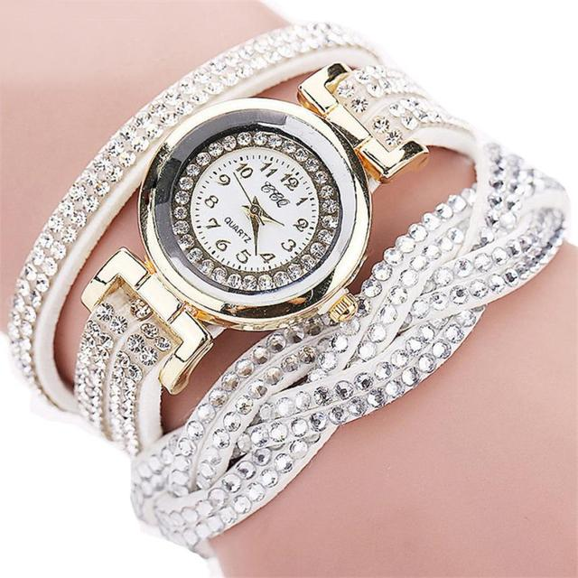 CCQ women Bracelet watches Fashion Casual Analog Quartz Women shiny Rhinestone B