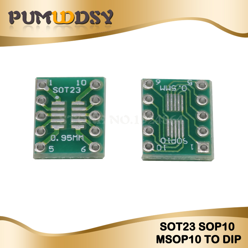 10PCS SOT23 MSOP10 UMAX zu DIP10 Transfer Board DIP Pin Board Pitch Adapter
