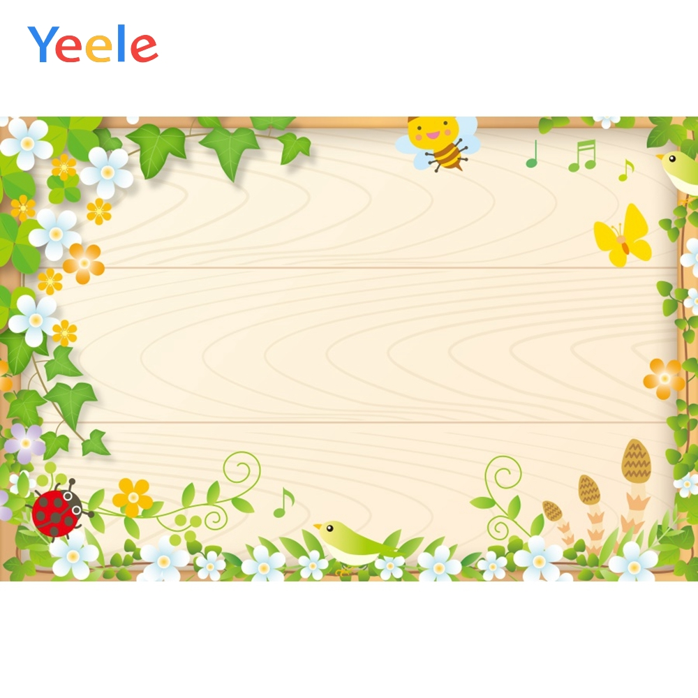 Yeele Simple Wooden Bee Ladybug Leaves Nice Flowers Photography Backdrops Personalized Photographic Backgrounds For Photo Studio