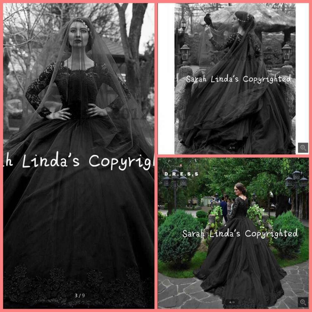 Gothic wedding shop - Ball Gown Black Lace Gothic Wedding Dresses Vintage Long Sleeve 2016 Victorian Wedding Dress Princess Puffy Modest Bridal Gown