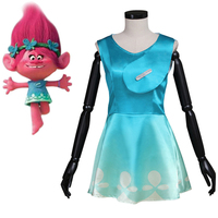 Trolls Cosplay Costume Princess Poppy Dress Elf Cosplay Adult Women's Halloween Carnival Costume Party Fancy Dresses