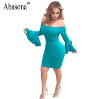 Abasona Women Dresses Off Shoulder Ruffles Party Dresses Elegant Ladies Flare Sleeve Tie Up Short Bodycon