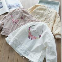 New Fall Baby Girls Back Floral Letter Sweet Jacket, Princess Fashion Boutique Outwear Wholesale 6 pcs/lot Baby Kids Clothes