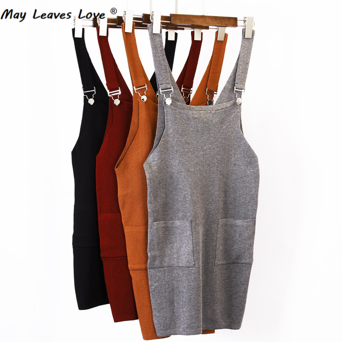 May Leaves Love New Fashion 2017 Spring Autumn Hanging Buckle Overalls Women Knitted Dresses 5 Color LK0042 sleep professor spring love