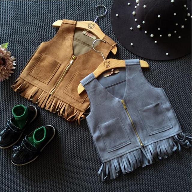 Transporte rápido de Alta Qualidade Crianças Roupas 2016 Moda Coreano Bonito Casual Bolso Borla Colete Casaco Outwear Roupas de Bebê Outono & primavera