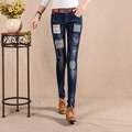 New Autumn 2016 High Waist Jeans Women Skinny Embroidery Pencil Jeans Stretch Patch  Slim Denim Pants Trousers For Women 26-31