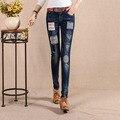 Nuevo Otoño 2016 de Cintura Alta Mujeres Jeans Flaco Del Bordado Remiendo Delgado Denim Pantalones Vaqueros del Lápiz Del Estiramiento Para Las Mujeres 26-31