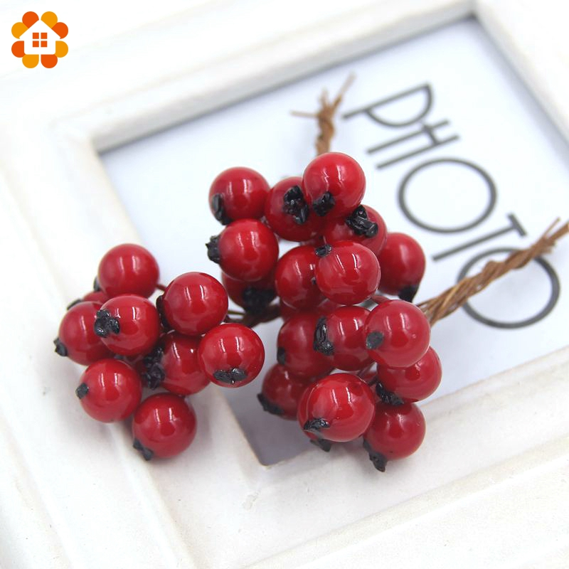 50PCS/Lot 1CM Artificial Flowers Fake Smooth Foam Pomegranate Fruit Small Berries Red Cherry Stamen For Home Wedding Decoration