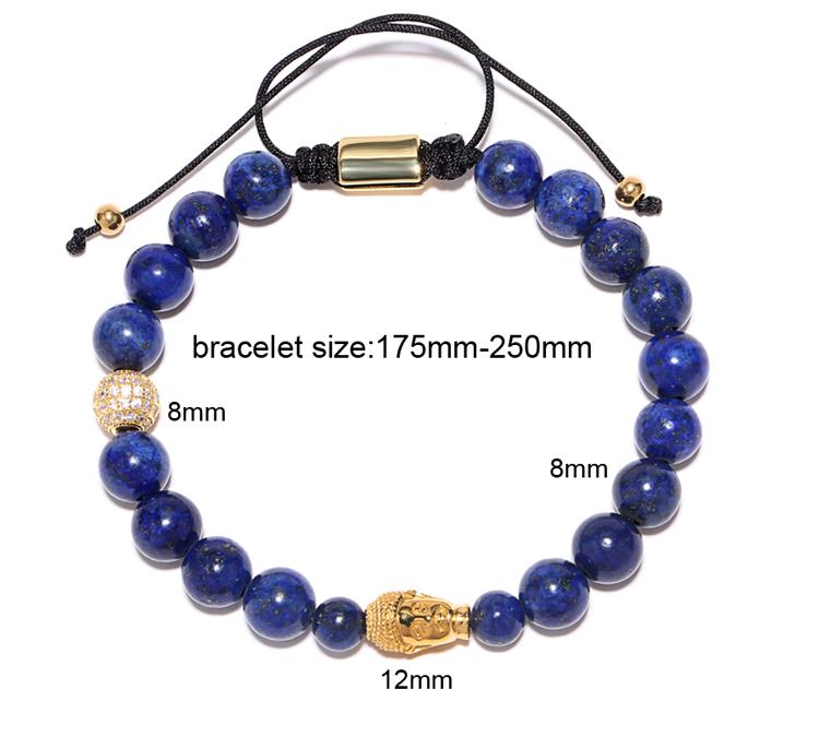 538ccc04c970 Naturales lapis lazuli bolas de piedra healing bracelete feminino  equilibrio yoga reiki oración 8mm buda pulsera del grano de la cz  pavimentado ...