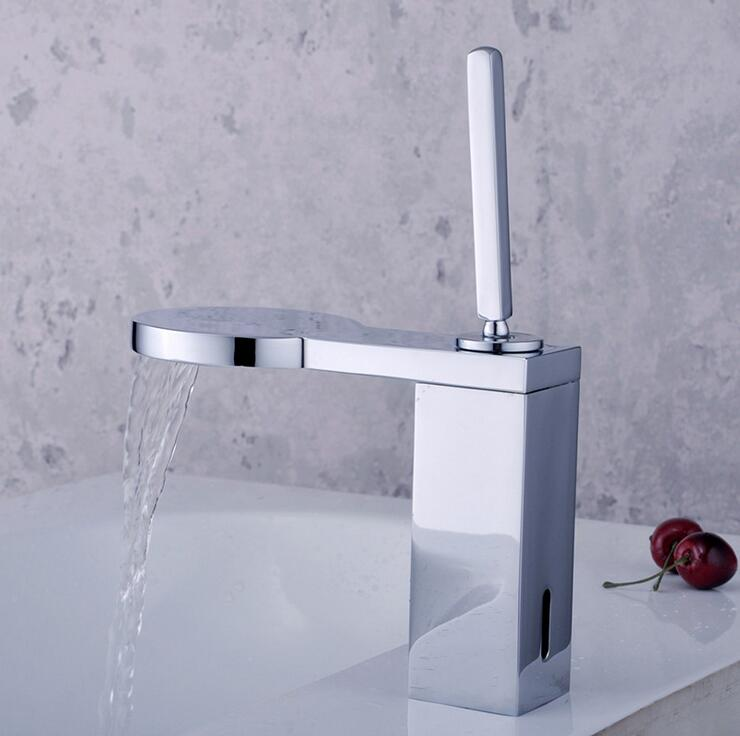 Bathroom sink basin faucet mixer water tap, Brass wash basin faucet hot and cold, Copper single hole basin faucet chrome plated xogolo fashion waterfall faucet for bathroom chrome single hole basin faucet mixer new arrival cold and hot sink tap