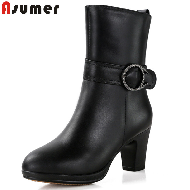 ASUMER 2018 fashion winter keep warm snow boots women round toe zip genuine leather boots thick high heels ladies ankle boots