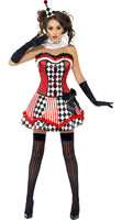 Adult Women Clown Costume Costume Funny Circus Clown Uniform Halloween Carnival Fancy Cosplay Masquerade Dress