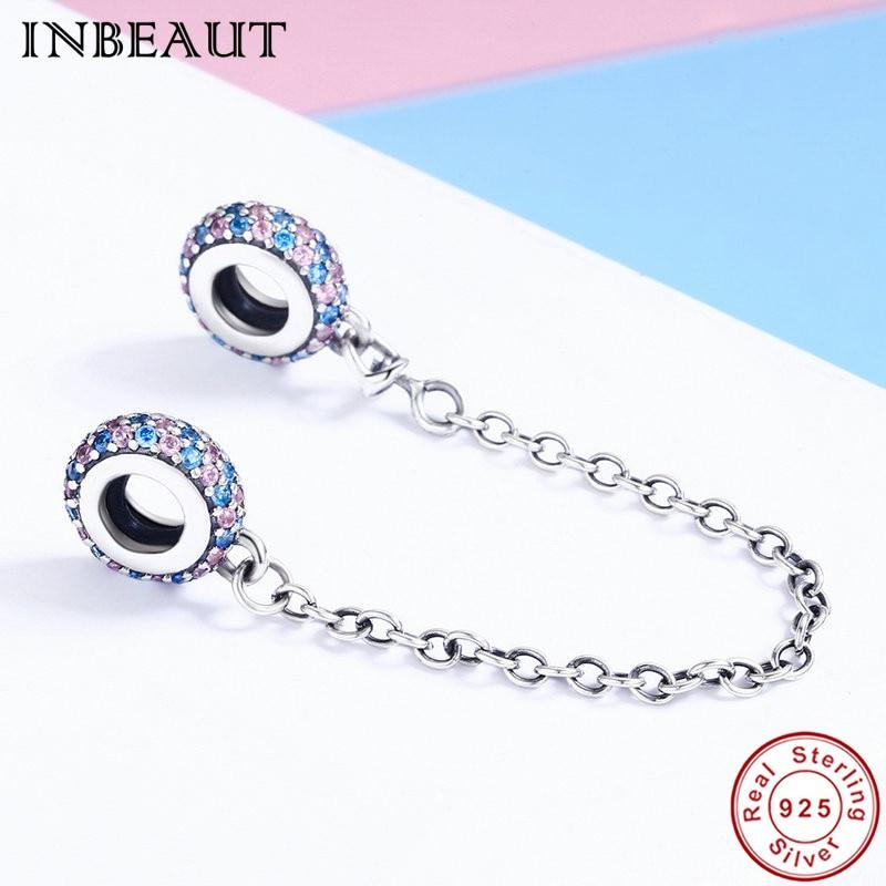 INBEAUT 100% Аутентичные стерлингового серебра 925 Розовый и Голубой цирконий безопасности цепи Шарм Fit Пандора браслет Для женщин ювелирные изде... ...