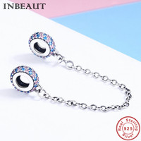 INBEAUT 100 Authentic 925 Sterling Silver Pink Blue Cubic Zirconia Safety Chain Charm Fit Pandora Charm