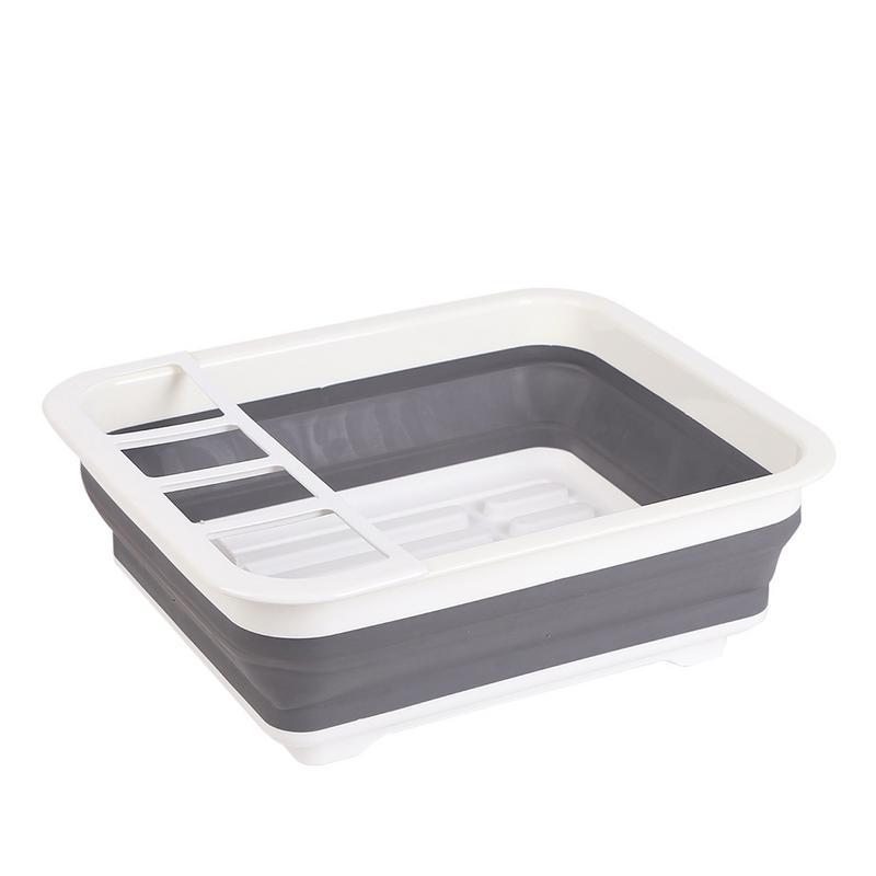 1x Camper Accessories Camping Car Foldable Dish Rack Tableware Rack Portable Bowl Rack TPR Bowl Sink Design For RV Caravan Boat