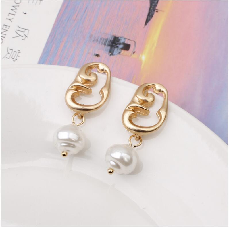 CXW Free shipping New aolly pearl pendant earrings for women simple and versatile with irregular metal earrings A12 in Drop Earrings from Jewelry Accessories