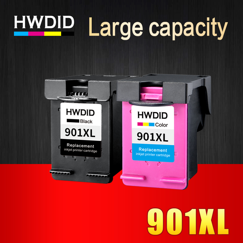 HWDID <font><b>901</b></font> Refilled Ink Cartridge Replacement for <font><b>HP</b></font> <font><b>901</b></font> <font><b>XL</b></font> 901XL for <font><b>HP</b></font> Officejet 4500 J4500 J4540 J4550 J4580 J4640 J4680c image