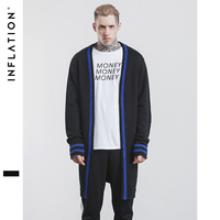 INFLATION 2017 New Arrival Men Winter Long Sleeve Cardigan Overlong Sweater Stripe Contrast Color Men Cardigan