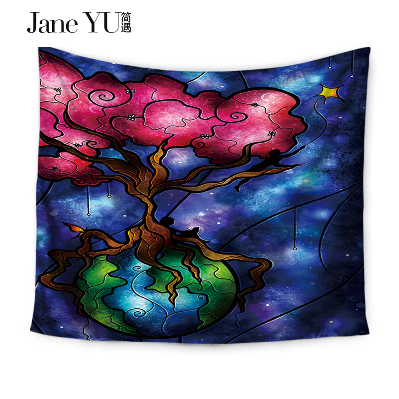 JaneYU Mermaid Patten Wall Decoration Blankets Sheets Table Cloth Polyester Mandala Tapestry Tapiz in Tapestry from Home Garden