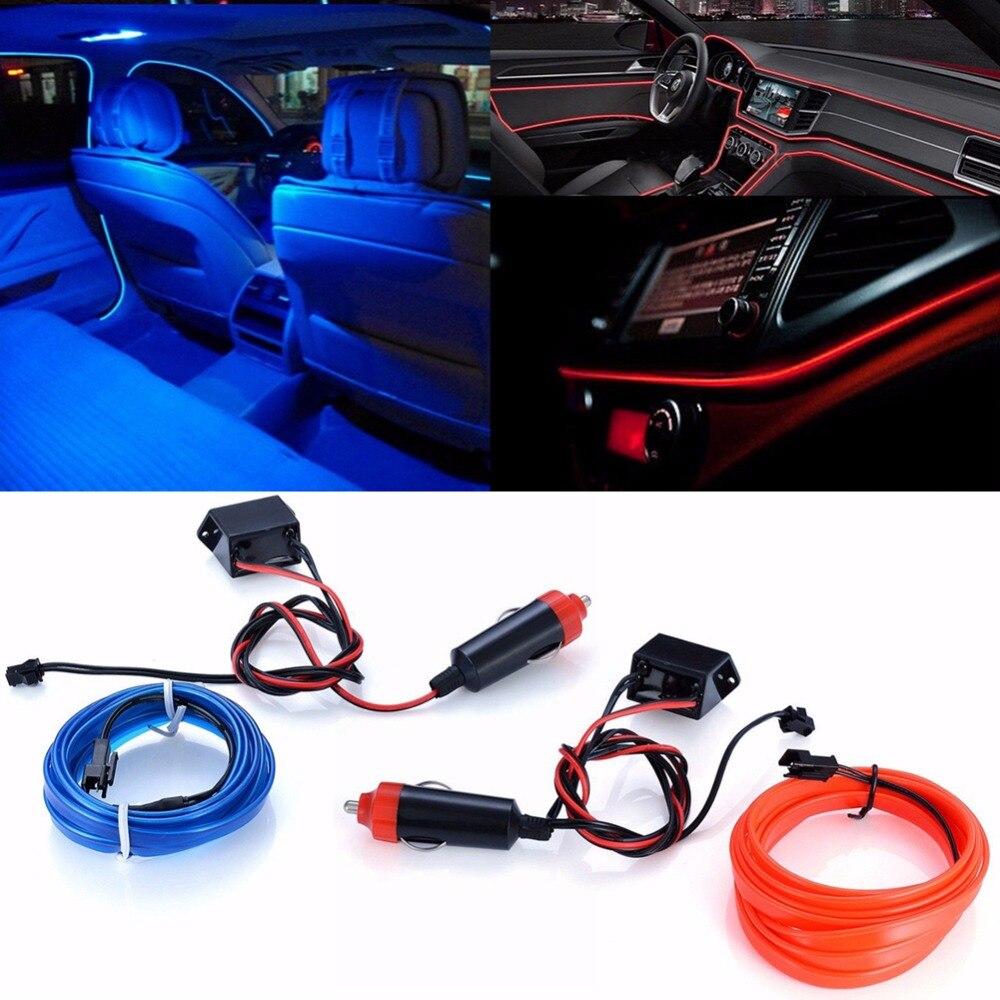 2M EL Flexible Car Auto Interior Mood Lighting Dash Board LED Decorative Strip Light Atmosphere Lamp Cold Ice Blue Red Light Bar