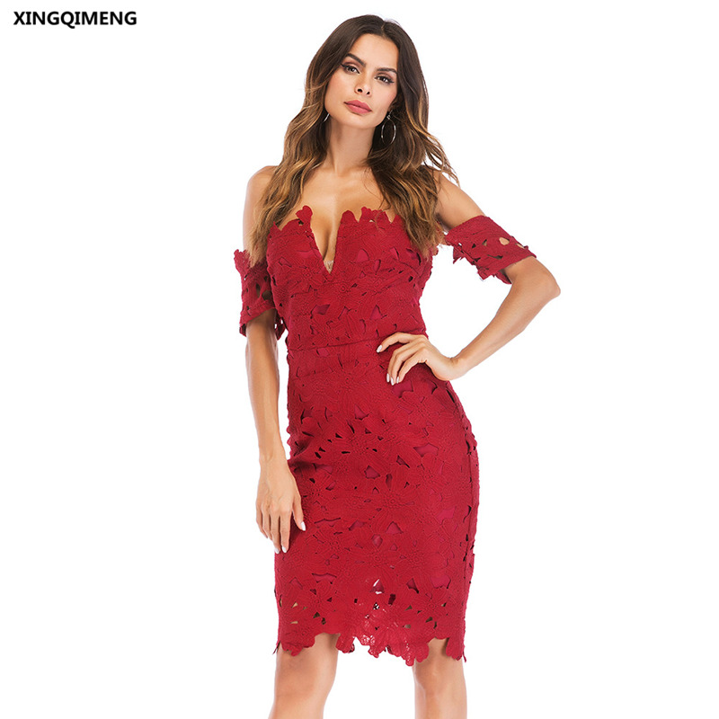 In Stock Wine Red Full Lace Evening Dresses Elegant Short Party