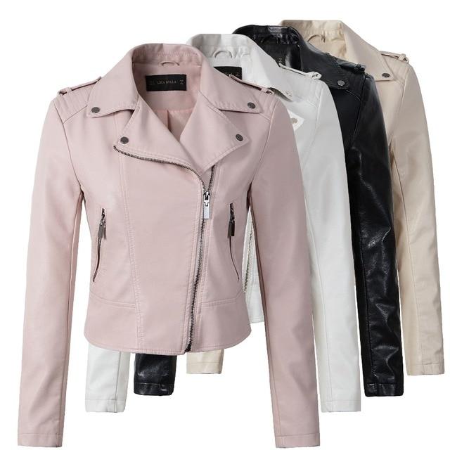 Бренд мотоциклетная куртка из искусственной кожи Для женщин зима и осень новое модное пальто 4 цвета Верхняя одежда на молнии куртка Новый 2018 пальто Лидер продаж