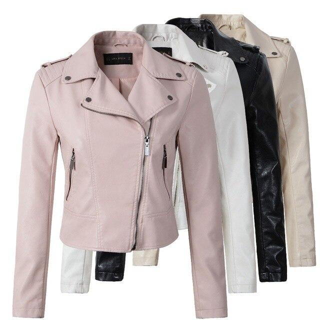 브랜드 오토바이 PU 가죽 자켓 여성 겨울 가을 새로운 패션 코트 4 색 지퍼 아우터 재킷 새로운 2018 코트 뜨거운