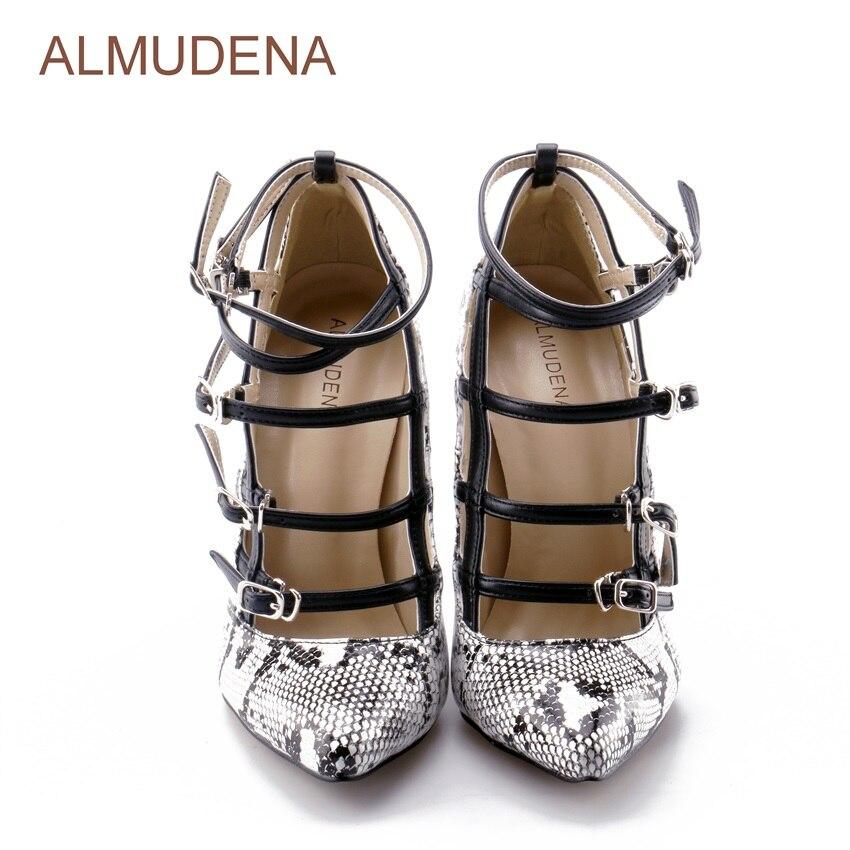 Sexy Schuhe Stil Europäischen Pumpen Schnalle Pumps Riemchen Kreuz Schlangenleder Picture Kleid Python Patchwork Gedruckt Grau Almudena As wdX54qxvdT