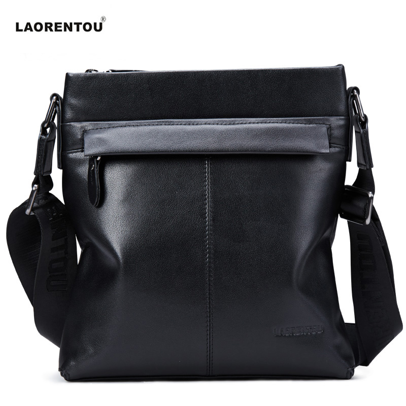 ФОТО Laorentou Vintage 100% Genuine Leather Men's Shoulder Bag For Business Casual High Quality Men's Crossbody Bag Bolsas Male N48