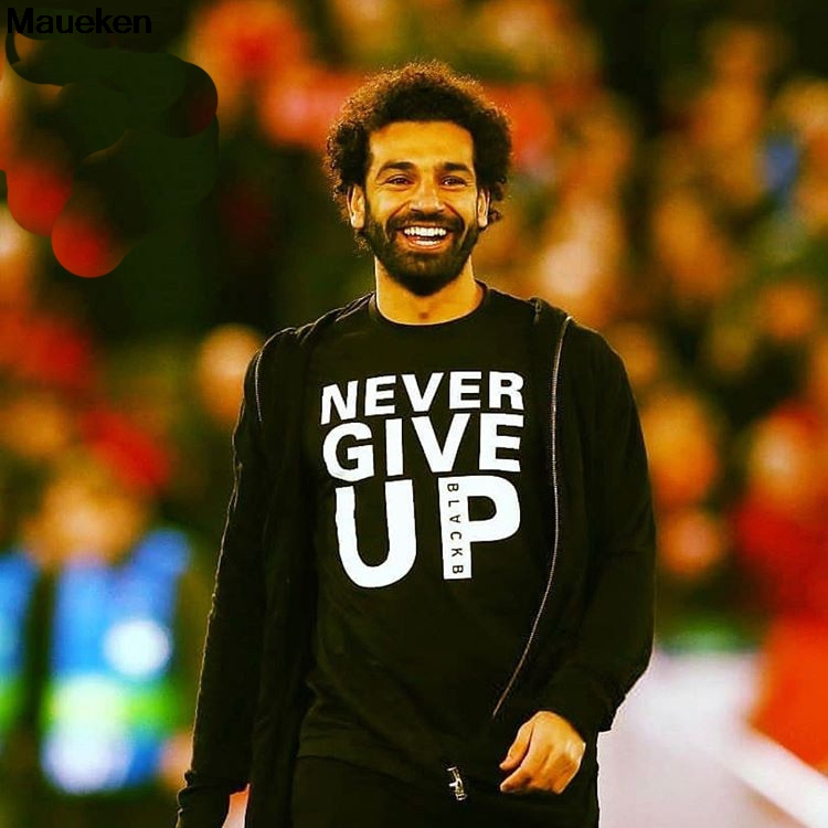 Never Give Up Liverpool Print T Shirt Men Mo Salah You'll Never Walk Alone T-shirts 2019 Top Tee Shirts Harajuku Men's T-shirt