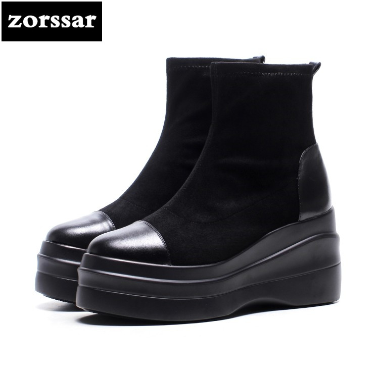 {Zorssar} 2018 New Suede Leather snow boots Women Ankle Elasticity Boots high heel Platform boots winter warm woman shoes zorssar 2017 new classic winter plush women boots suede ankle snow boots female warm fur women shoes wedges platform boots
