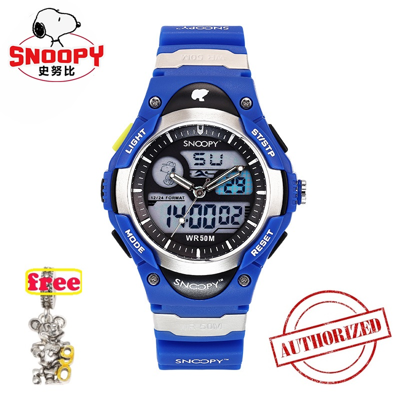 SNOOPY Brand Men Sports Watches Dual Display Analog Digital LED Electronic Quartz Wristwatches Waterproof  Military Watch SNW755