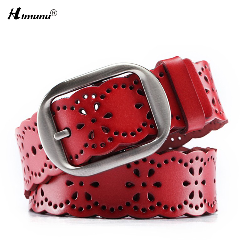 New product fashion Hollow out Cowhide leather Female belts Vintage Gun color drawing Lady Pin Buckle