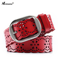 New product fashion Hollow out Cowhide leather Female belts Vintage Gun color drawing Lady Pin Buckle belt for women Four colors