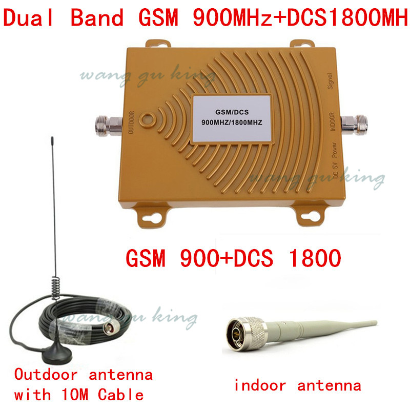 Hot ! Mobile Phone Dual Band GSM DCS Signal Booster Cell Phone GSM 900MHZ DCS 1800MHZ Signal Repeater Amplifier Cable + Antenna