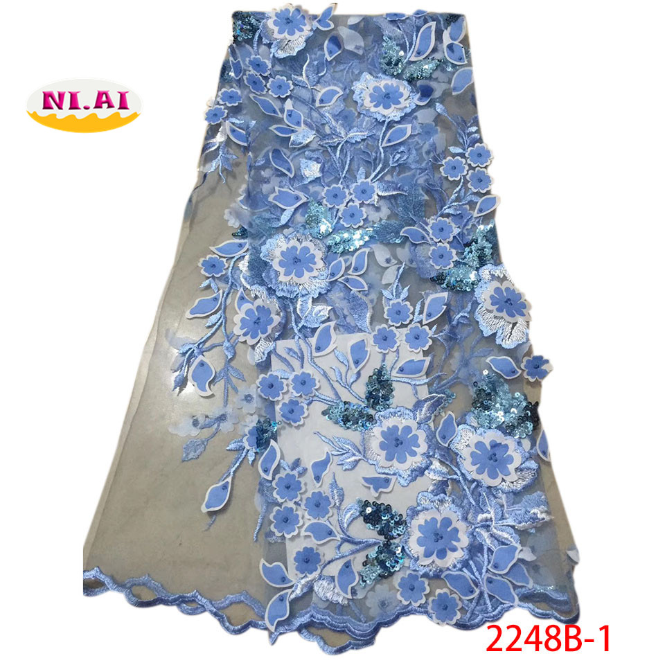 New fashio sky blue embroidery tulle lace fabric with sequins 2018 latest high quality french 3d