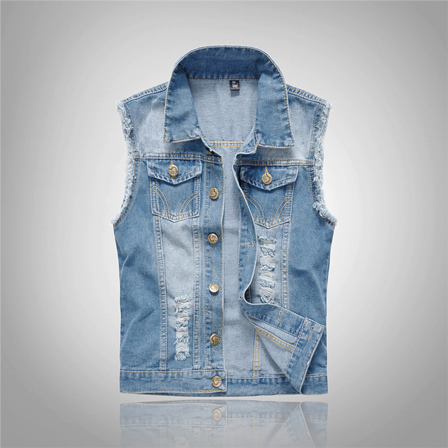 a521b7949be New Fashion Mens Denim Vest Men Vintage Sleeveless washed jeans waistcoat  Man Cowboy ripped Jacket Plus Size 6XL Pockets