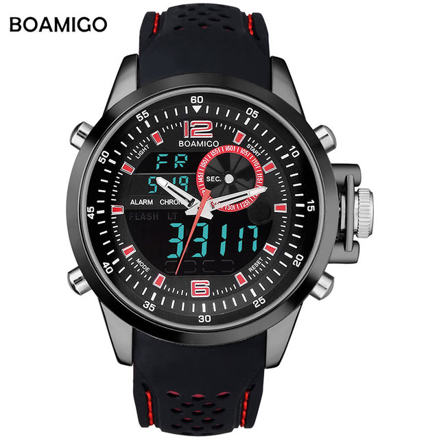 Hombres deportes relojes dual display analógico digital LED relojes BOAMIGO Electrónicos de la marca de relojes de cuarzo banda de goma 30 M impermeable