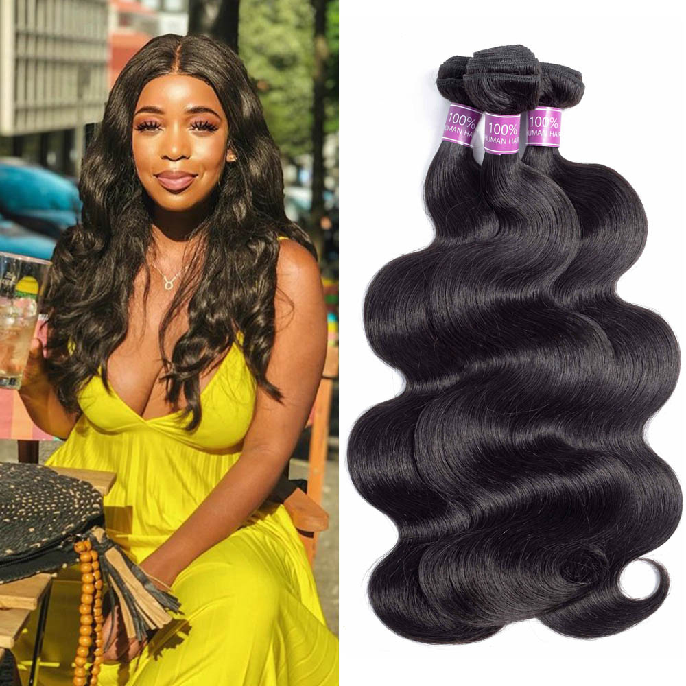 Brazilian Hair Weave Bundles Body Wave 1 3 PCS Bundles Natural Color Non Remy Human Hair
