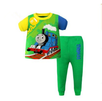 High Quality Thomas Train Set Summer Boys Cotton Clothing Cets Kids Short Sleeve T-shirt Pants Old Thomas And Friends Clothes