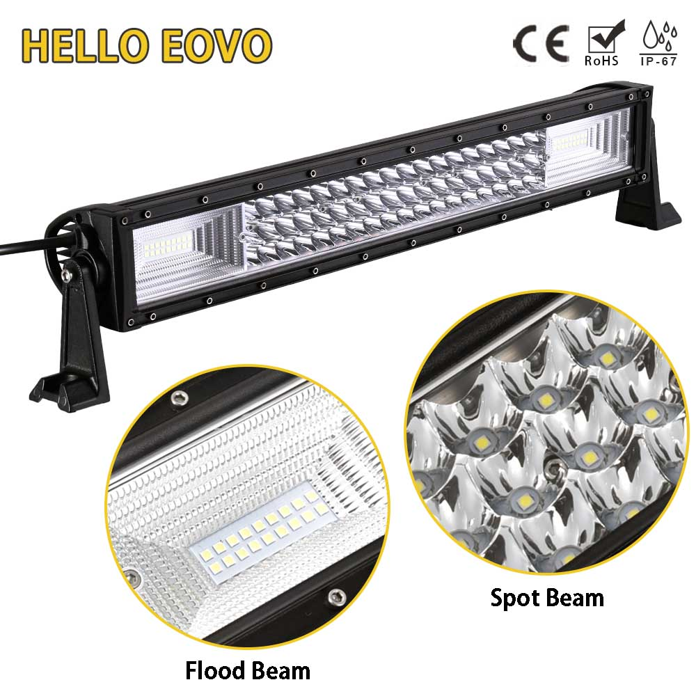 HELLO EOVO LED Bar 3 Rows 22 inch LED Light Bar for Work Indicators Driving Offroad Boat Car Tractor Truck 4x4 SUV ATV 12V 24v