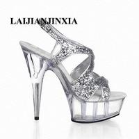 LAIJIANJINXIA 15CM Nightclub Sexy crystal high heels romantic sweet slipper shoes model show shoes/party Dance Women Shoes