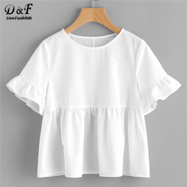 bff8d69427c5 Dotfashion White Ruffle Sleeve Babydoll Blouse Solid Round Neck Short  Sleeve Top 2019 Summer Women Cute Blouse
