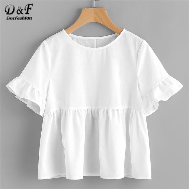 289054cc2b8b14 Dotfashion White Ruffle Sleeve Babydoll Blouse Solid Round Neck Short  Sleeve Top 2019 Summer Women Cute Blouse