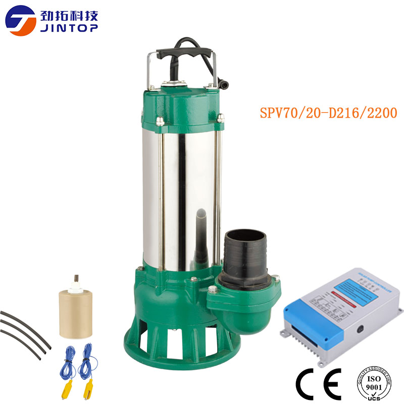 (MODEL SPV70/20-D216/2200) JINTOP SOLAR PUMP Flow 70T/H Max heade 20m solar sewage submersible pumps with MPPT controller stainless steel sewage export to 56 countries 100m3 h electric submersible sewage pump